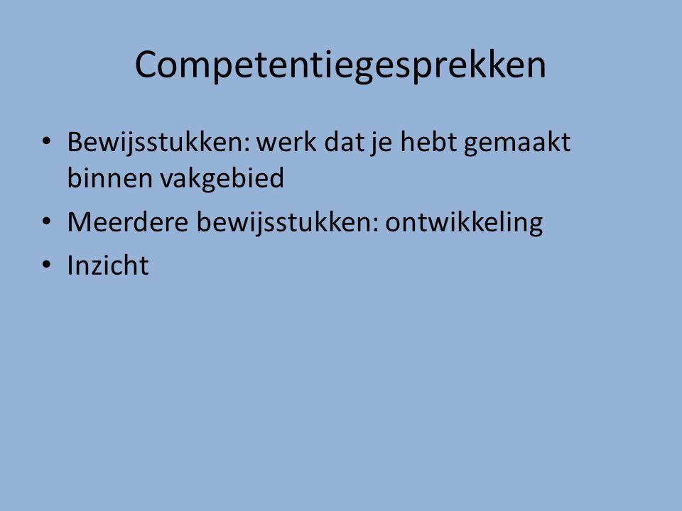 Competentiegesprekken Bewijsstukken: werk dat je hebt gemaakt binnen vakgebied Meerdere bewijsstukken: ontwikkeling Inzicht