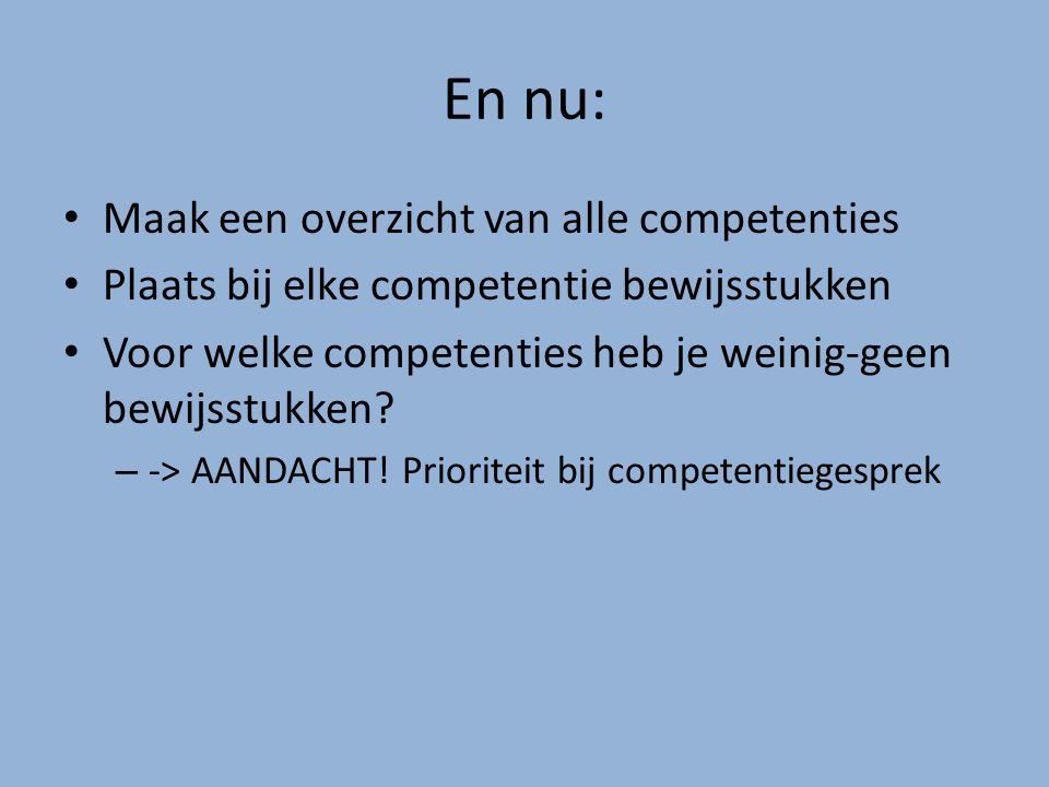 En nu: Maak een overzicht van alle competenties Plaats bij elke competentie bewijsstukken Voor welke competenties heb je weinig-geen bewijsstukken? –