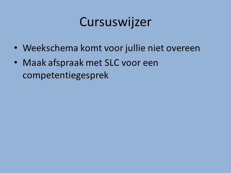 Cursuswijzer Weekschema komt voor jullie niet overeen Maak afspraak met SLC voor een competentiegesprek