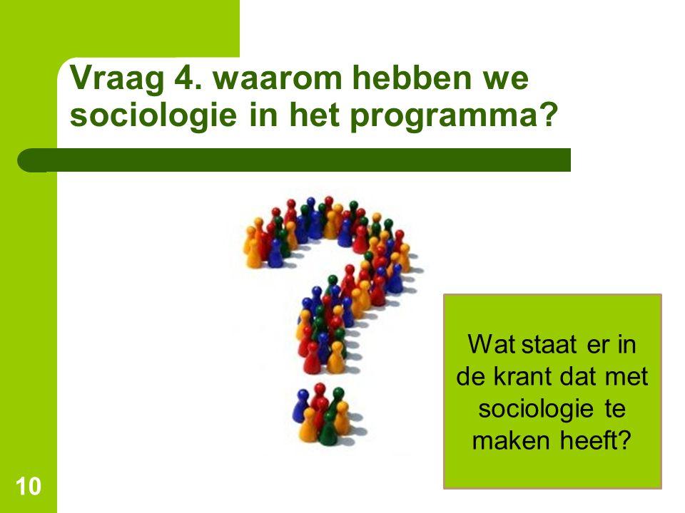 Vraag 4. waarom hebben we sociologie in het programma? 10 Wat staat er in de krant dat met sociologie te maken heeft?