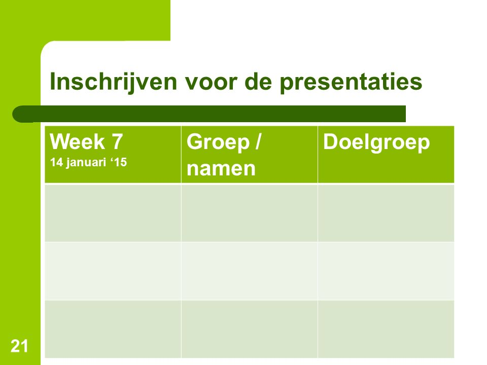 Inschrijven voor de presentaties Week 7 14 januari '15 Groep / namen Doelgroep 21