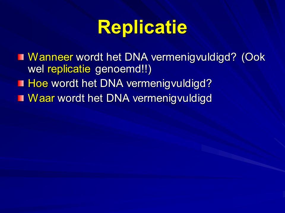 Replicatie Wanneer wordt het DNA vermenigvuldigd? (Ook wel replicatie genoemd!!) Hoe wordt het DNA vermenigvuldigd? Waar wordt het DNA vermenigvuldigd