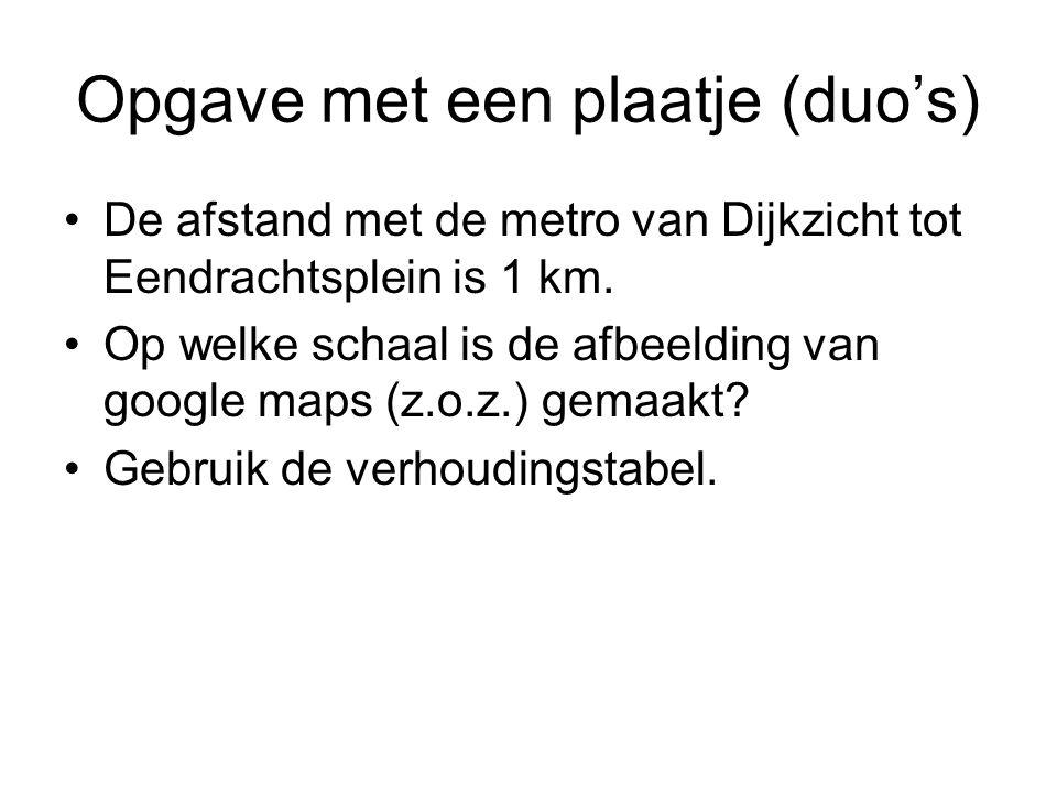 Opgave met een plaatje (duo's) De afstand met de metro van Dijkzicht tot Eendrachtsplein is 1 km. Op welke schaal is de afbeelding van google maps (z.