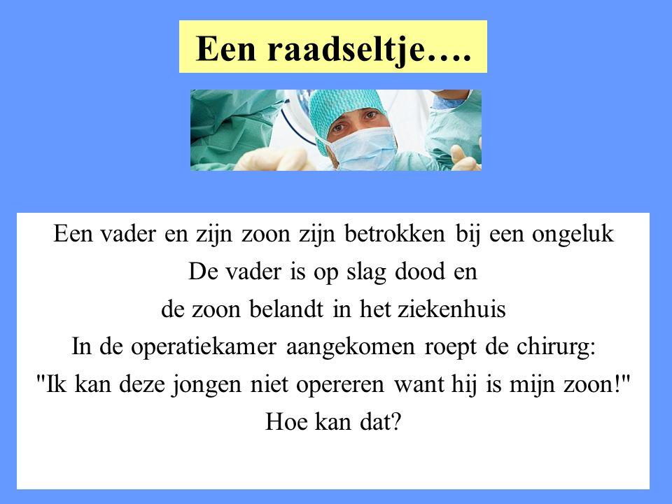 Een raadseltje…. Een vader en zijn zoon zijn betrokken bij een ongeluk De vader is op slag dood en de zoon belandt in het ziekenhuis In de operatiekam