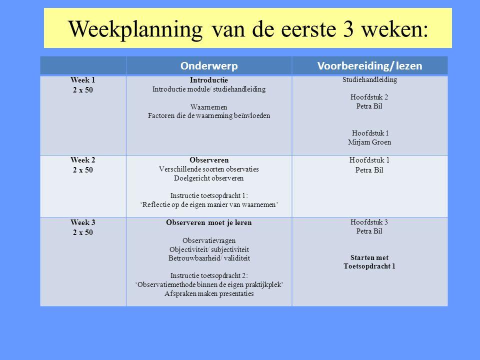 Weekplanning van de eerste 3 weken: OnderwerpVoorbereiding/ lezen Week 1 2 x 50 Introductie Introductie module/ studiehandleiding Waarnemen Factoren d