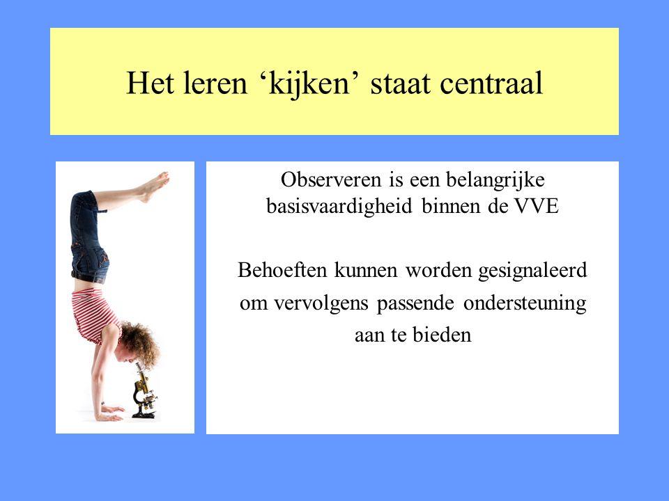 Het leren 'kijken' staat centraal Observeren is een belangrijke basisvaardigheid binnen de VVE Behoeften kunnen worden gesignaleerd om vervolgens pass