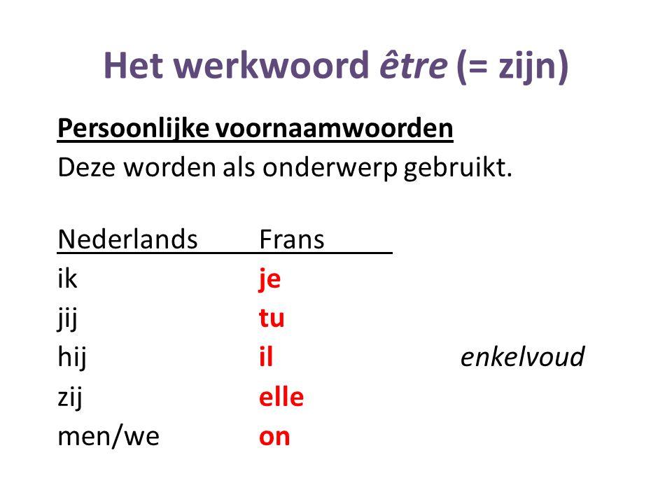 Het werkwoord être (= zijn) Persoonlijke voornaamwoorden Deze worden als onderwerp gebruikt. NederlandsFrans ikje jijtu hijilenkelvoud zijelle men/weo