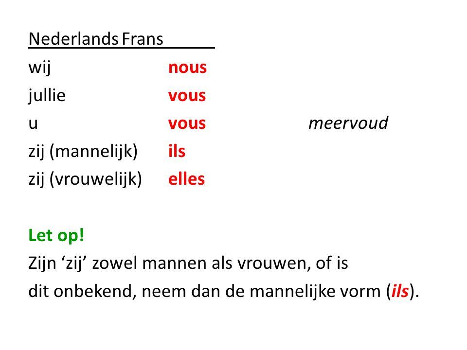 NederlandsFrans wijnous jullievous uvousmeervoud zij (mannelijk)ils zij (vrouwelijk)elles Let op! Zijn 'zij' zowel mannen als vrouwen, of is dit onbek