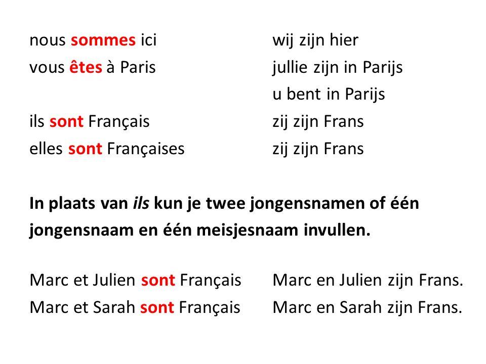 nous sommes iciwij zijn hier vous êtes à Parisjullie zijn in Parijs u bent in Parijs ils sont Françaiszij zijn Frans elles sont Françaiseszij zijn Fra