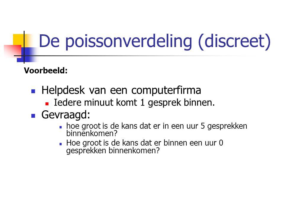De poissonverdeling (discreet) Voorbeeld: Helpdesk van een computerfirma Iedere minuut komt 1 gesprek binnen. Gevraagd: hoe groot is de kans dat er in