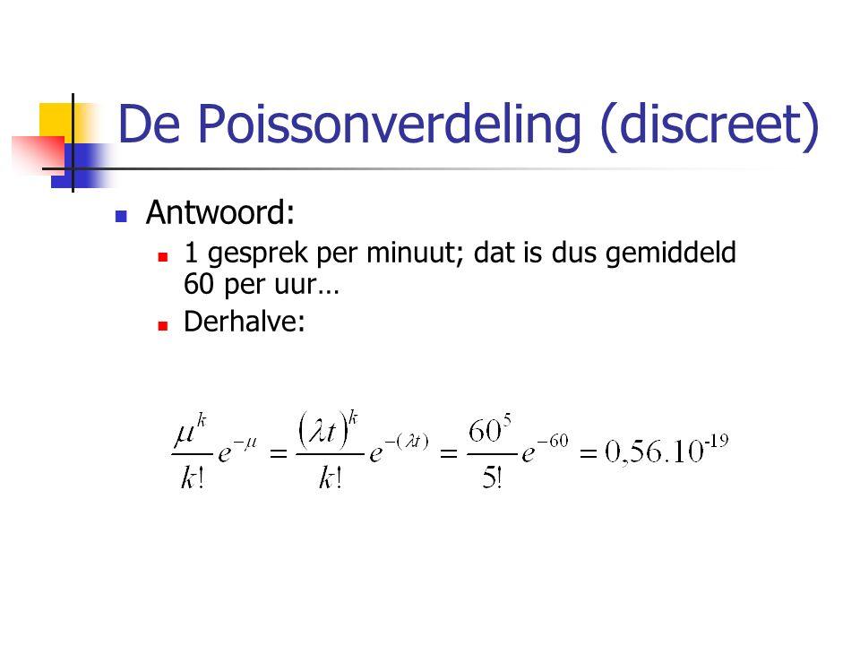 De Poissonverdeling (discreet) Antwoord: 1 gesprek per minuut; dat is dus gemiddeld 60 per uur… Derhalve: