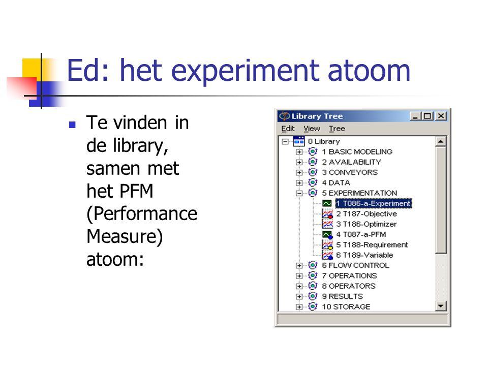 Ed: het experiment atoom Te vinden in de library, samen met het PFM (Performance Measure) atoom:
