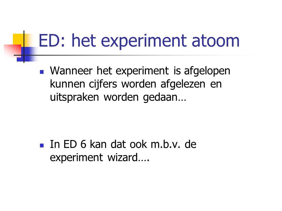 Wanneer het experiment is afgelopen kunnen cijfers worden afgelezen en uitspraken worden gedaan… In ED 6 kan dat ook m.b.v.