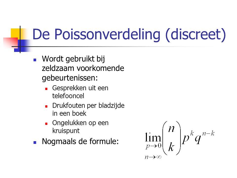 De Poissonverdeling (discreet) Wordt gebruikt bij zeldzaam voorkomende gebeurtenissen: Gesprekken uit een telefooncel Drukfouten per bladzijde in een boek Ongelukken op een kruispunt Nogmaals de formule: