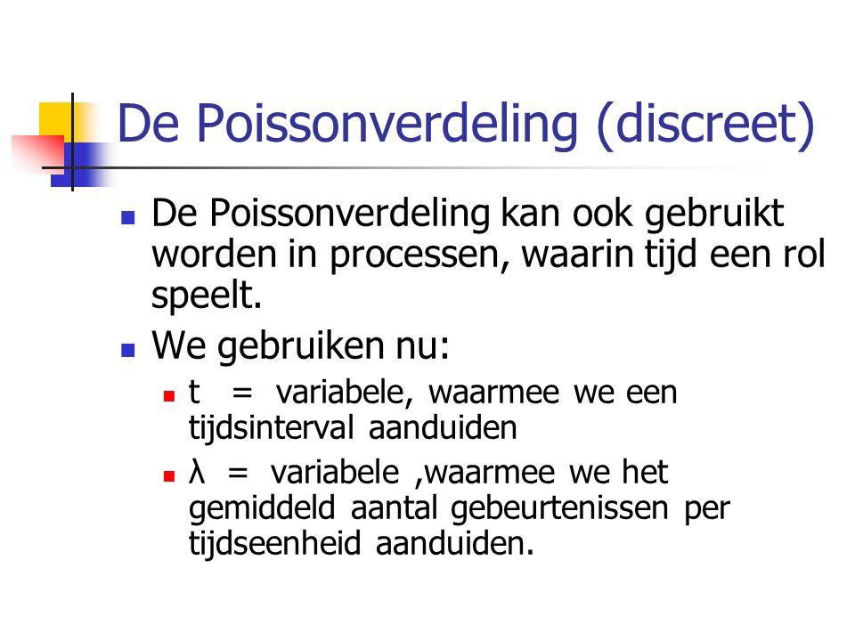 De Poissonverdeling (discreet) De Poissonverdeling kan ook gebruikt worden in processen, waarin tijd een rol speelt. We gebruiken nu: t = variabele, w