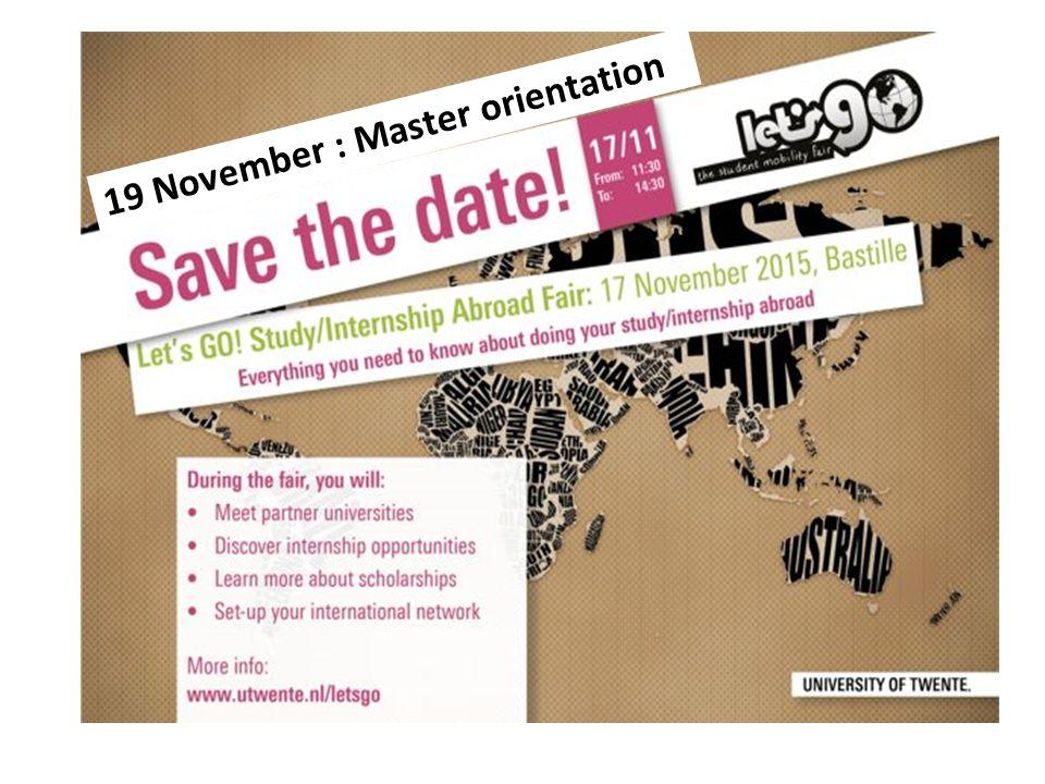 19 November : Master orientation