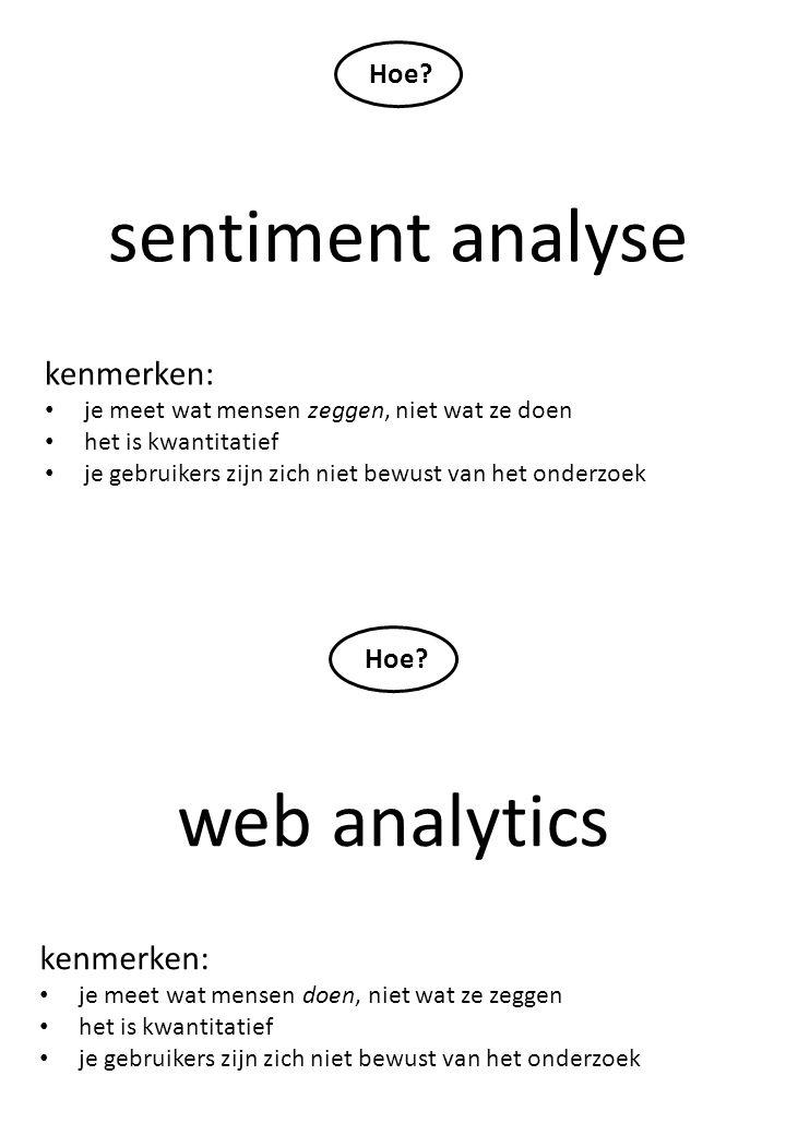 sentiment analyse kenmerken: je meet wat mensen zeggen, niet wat ze doen het is kwantitatief je gebruikers zijn zich niet bewust van het onderzoek Hoe