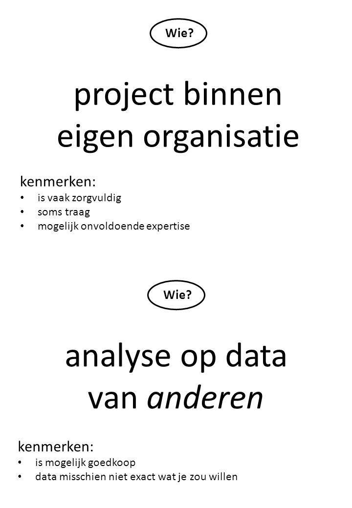 project binnen eigen organisatie kenmerken: is vaak zorgvuldig soms traag mogelijk onvoldoende expertise Wie? analyse op data van anderen kenmerken: i