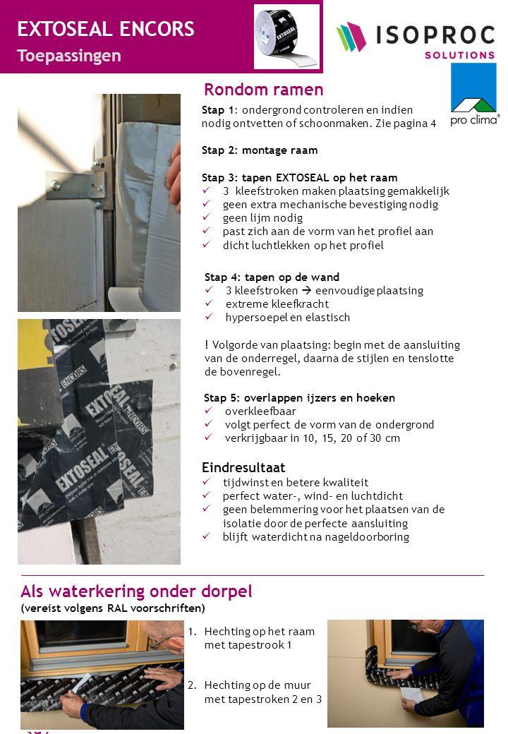 www.ISOPROC.nl +31 43 8200 392 3 EXTOSEAL ENCORS productsheet EigenschapMateriaal dragerelastische PE folie lijmbutylrubber gemodificeerd met acrylaat strookgesiliconiseerde PE-folie, opgedeeld in 3 zones EigenschapNormeringWaarde kleurfolie: zwart; butylrubber: grijs oppervlaktegewichtDIN EN 1849-2ca.