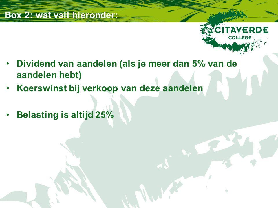 Box 3: wat valt hieronder: 1,2% belasting over je vermogen boven de 21.139,-- euro (per persoon) Eigen huis en roerende zaken (auto, boot, schilderij) tellen niet mee
