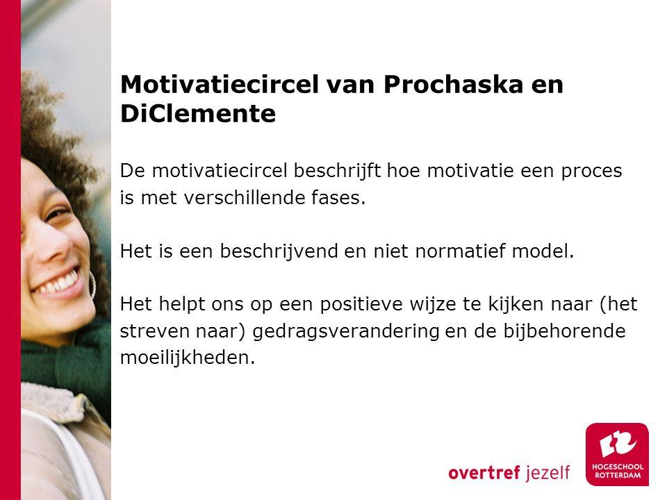 Motivatiecircel van Prochaska en DiClemente De motivatiecircel beschrijft hoe motivatie een proces is met verschillende fases. Het is een beschrijvend