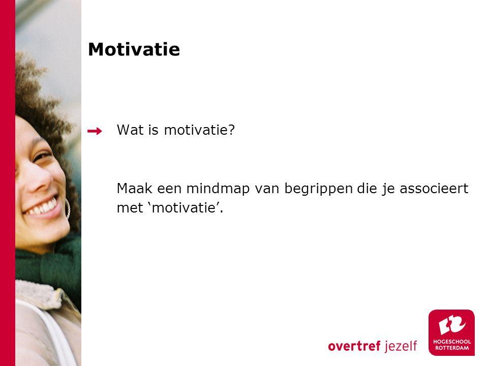 Motivatie Wat is motivatie? Maak een mindmap van begrippen die je associeert met 'motivatie'.