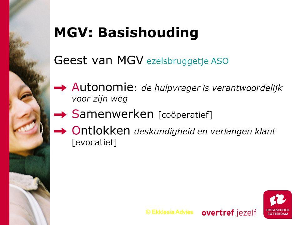 © Ekklesia Advies Geest van MGV ezelsbruggetje ASO Autonomie : de hulpvrager is verantwoordelijk voor zijn weg Samenwerken [coöperatief] Ontlokken des