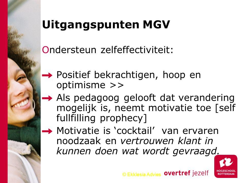 © Ekklesia Advies Ondersteun zelfeffectiviteit: Positief bekrachtigen, hoop en optimisme >> Als pedagoog gelooft dat verandering mogelijk is, neemt mo