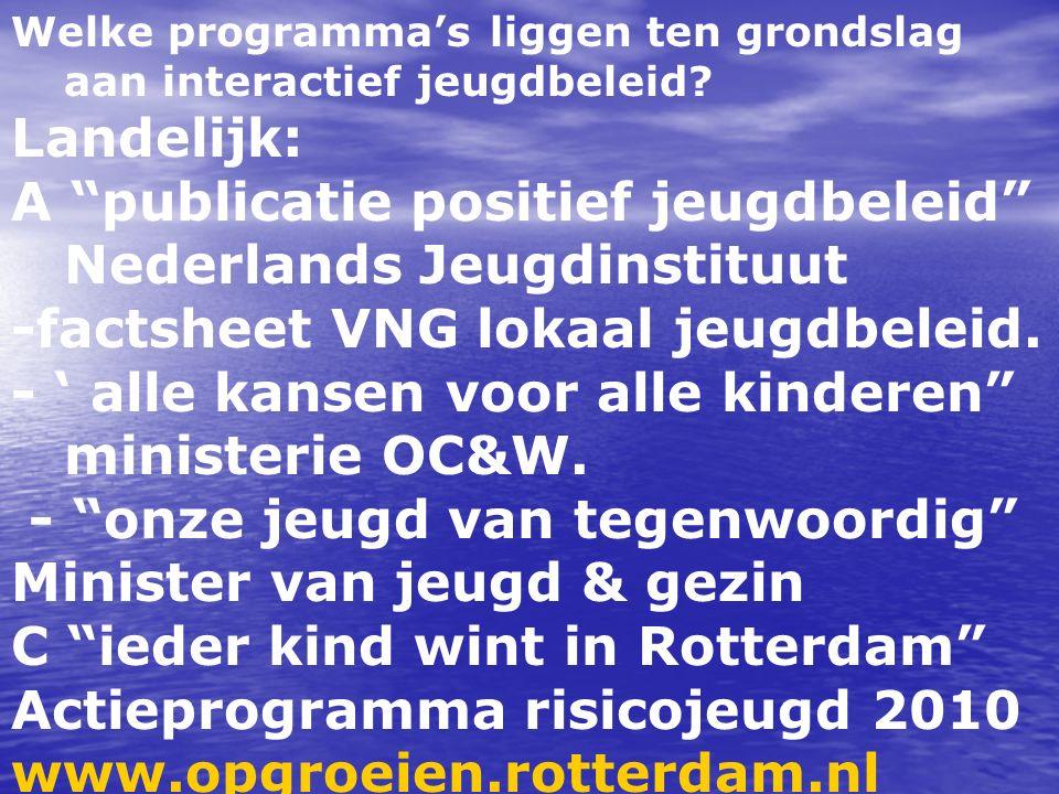 """Welke programma's liggen ten grondslag aan interactief jeugdbeleid? Landelijk: A """"publicatie positief jeugdbeleid"""" Nederlands Jeugdinstituut -factshee"""