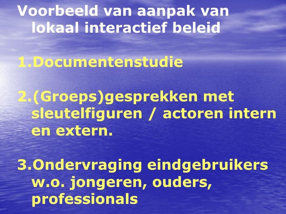 Voorbeeld van aanpak van lokaal interactief beleid 1.Documentenstudie 2.(Groeps)gesprekken met sleutelfiguren / actoren intern en extern. 3.Ondervragi