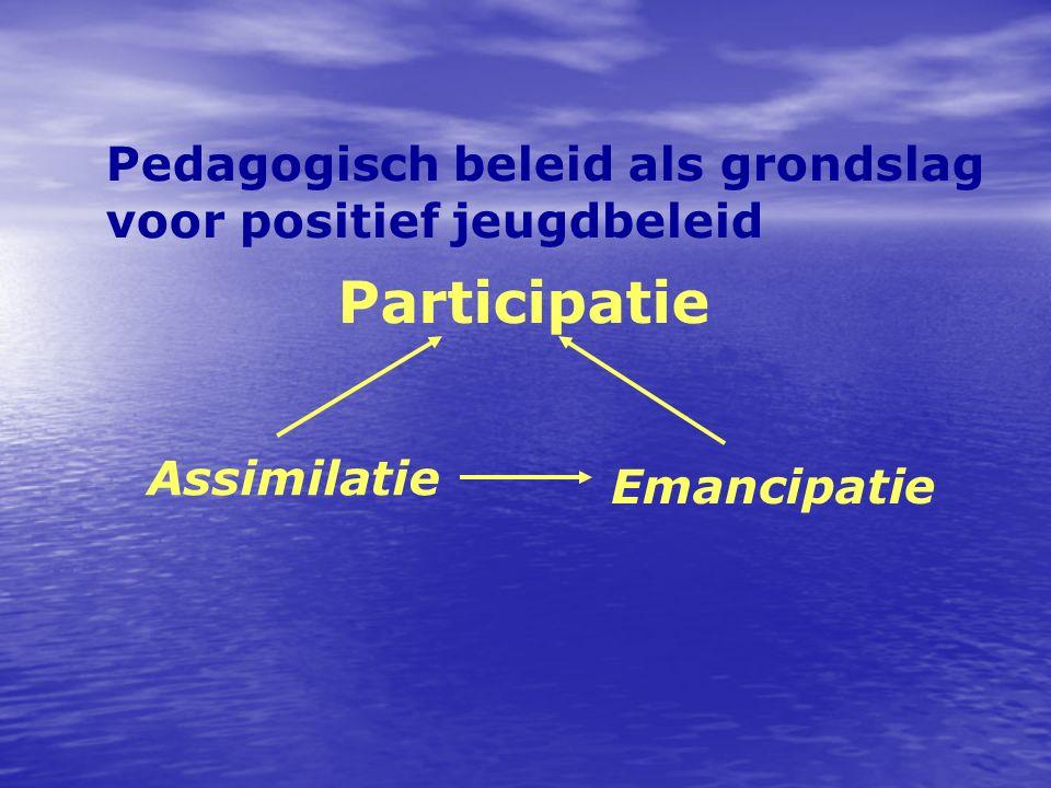 Pedagogisch beleid als grondslag voor positief jeugdbeleid Participatie Assimilatie Emancipatie