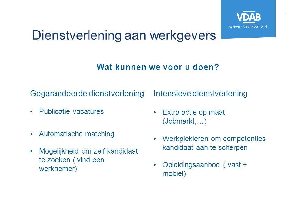 Gegarandeerde dienstverlening Publicatie vacatures Automatische matching Mogelijkheid om zelf kandidaat te zoeken ( vind een werknemer) Intensieve die