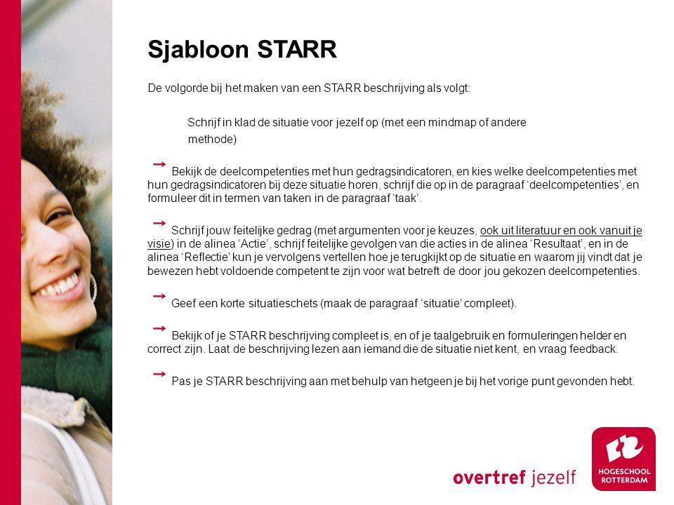 Sjabloon STARR De volgorde bij het maken van een STARR beschrijving als volgt: Schrijf in klad de situatie voor jezelf op (met een mindmap of andere m