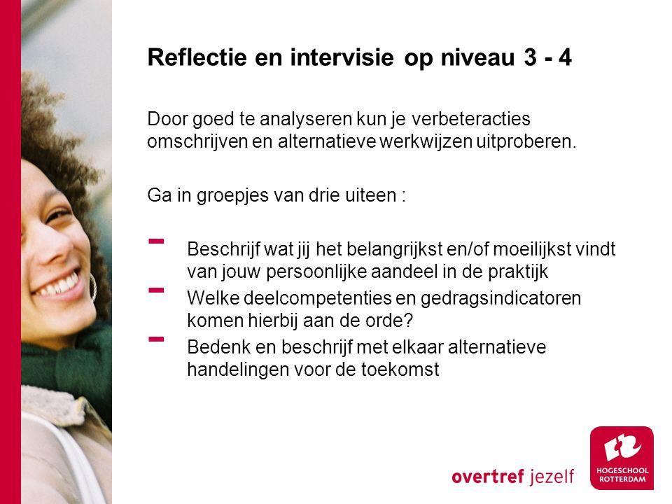 Reflectie en intervisie op niveau 3 - 4 Door goed te analyseren kun je verbeteracties omschrijven en alternatieve werkwijzen uitproberen. Ga in groepj