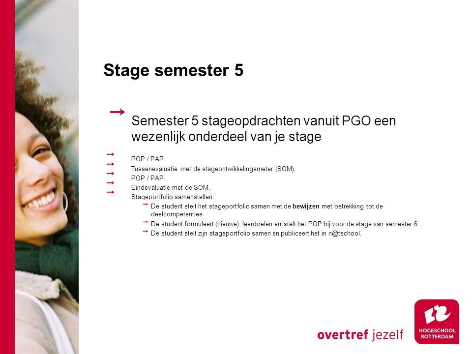 Stage semester 5 Semester 5 stageopdrachten vanuit PGO een wezenlijk onderdeel van je stage POP / PAP Tussenevaluatie met de stageontwikkelingsmeter (