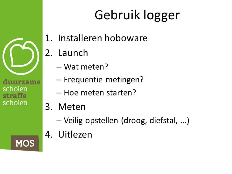 Gebruik logger 1.Installeren hoboware 2.Launch – Wat meten? – Frequentie metingen? – Hoe meten starten? 3.Meten – Veilig opstellen (droog, diefstal, …