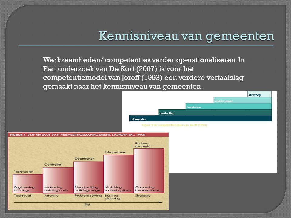 Werkzaamheden/ competenties verder operationaliseren. In Een onderzoek van De Kort (2007) is voor het competentiemodel van Joroff (1993) een verdere v