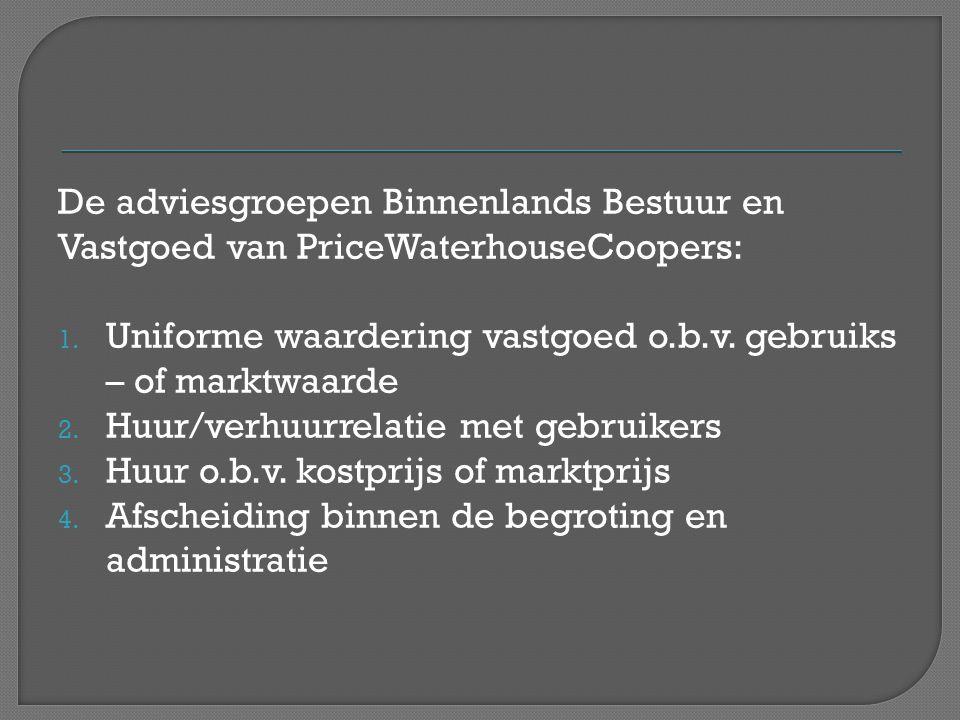 De adviesgroepen Binnenlands Bestuur en Vastgoed van PriceWaterhouseCoopers: 1. Uniforme waardering vastgoed o.b.v. gebruiks – of marktwaarde 2. Huur/