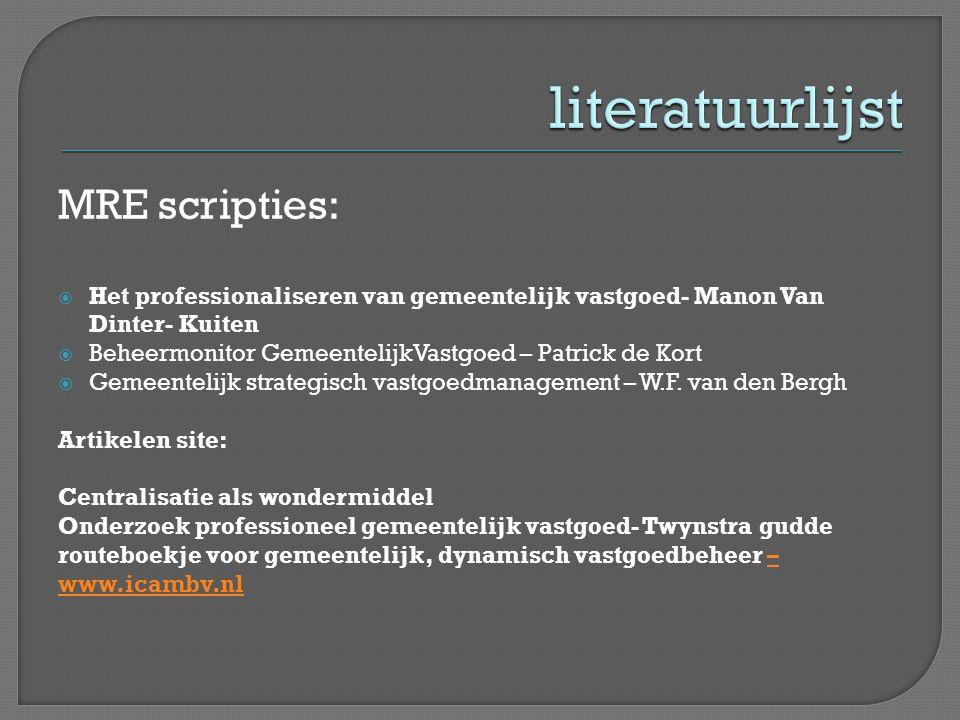MRE scripties:  Het professionaliseren van gemeentelijk vastgoed- Manon Van Dinter- Kuiten  Beheermonitor GemeentelijkVastgoed – Patrick de Kort  G