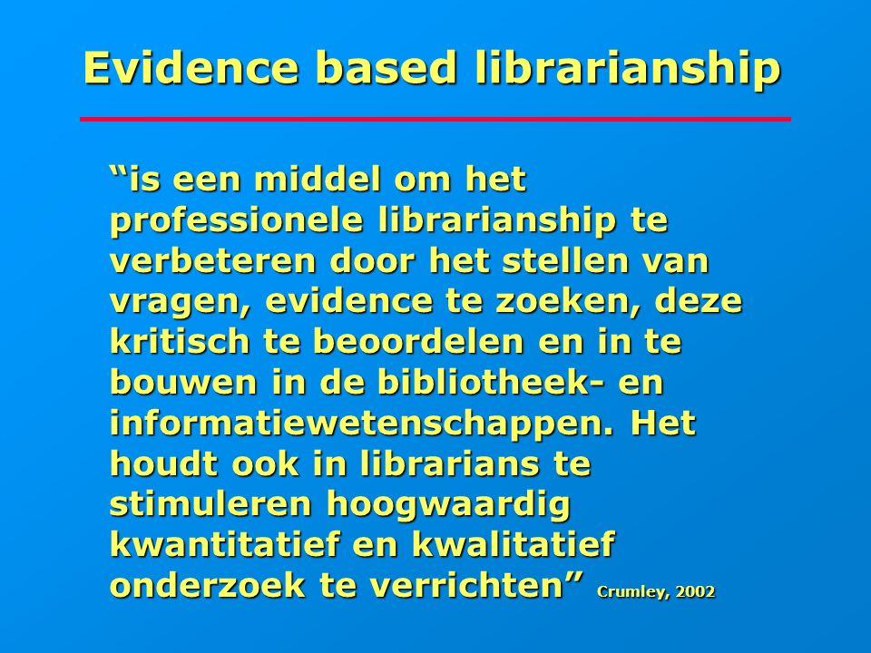 """Evidence based librarianship """"is een middel om het professionele librarianship te verbeteren door het stellen van vragen, evidence te zoeken, deze kri"""