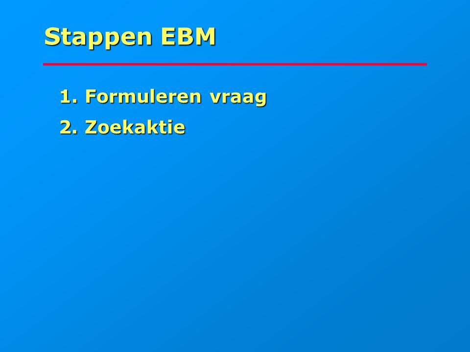 Stappen EBM 1. Formuleren vraag 1. Formuleren vraag 2. Zoekaktie 2. Zoekaktie