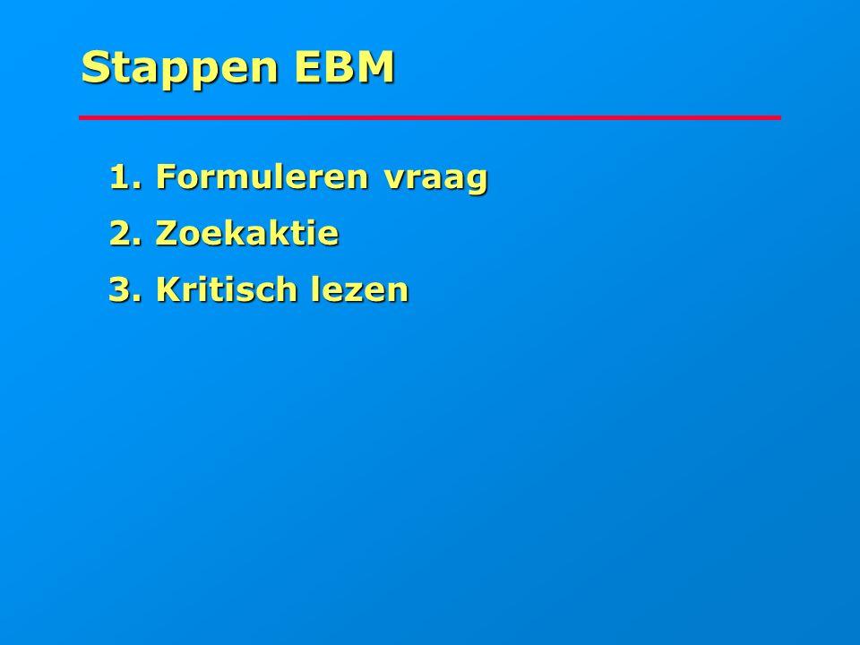 Stappen EBM 1. Formuleren vraag 1. Formuleren vraag 2. Zoekaktie 2. Zoekaktie 3. Kritisch lezen 3. Kritisch lezen