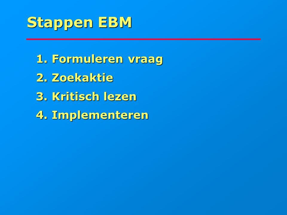 Stappen EBM 1. Formuleren vraag 1. Formuleren vraag 2. Zoekaktie 2. Zoekaktie 3. Kritisch lezen 3. Kritisch lezen 4. Implementeren 4. Implementeren