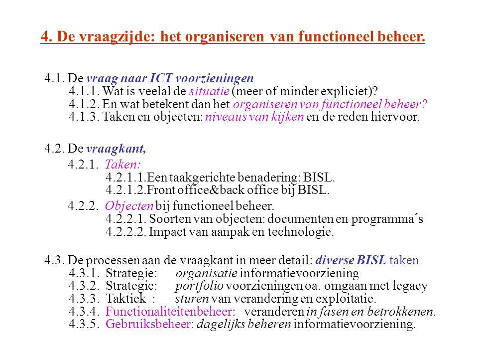 4. De vraagzijde: het organiseren van functioneel beheer. 4.1. De vraag naar ICT voorzieningen 4.1.1. Wat is veelal de situatie (meer of minder explic