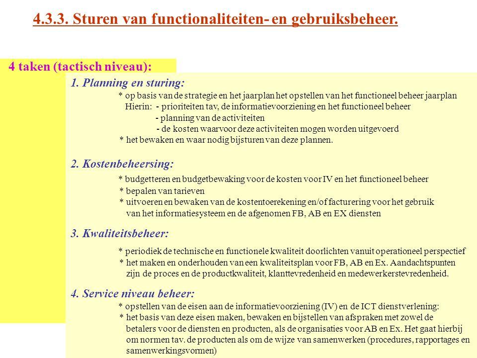 4.3.3. Sturen van functionaliteiten- en gebruiksbeheer. 4 taken (tactisch niveau): 1. Planning en sturing: * op basis van de strategie en het jaarplan