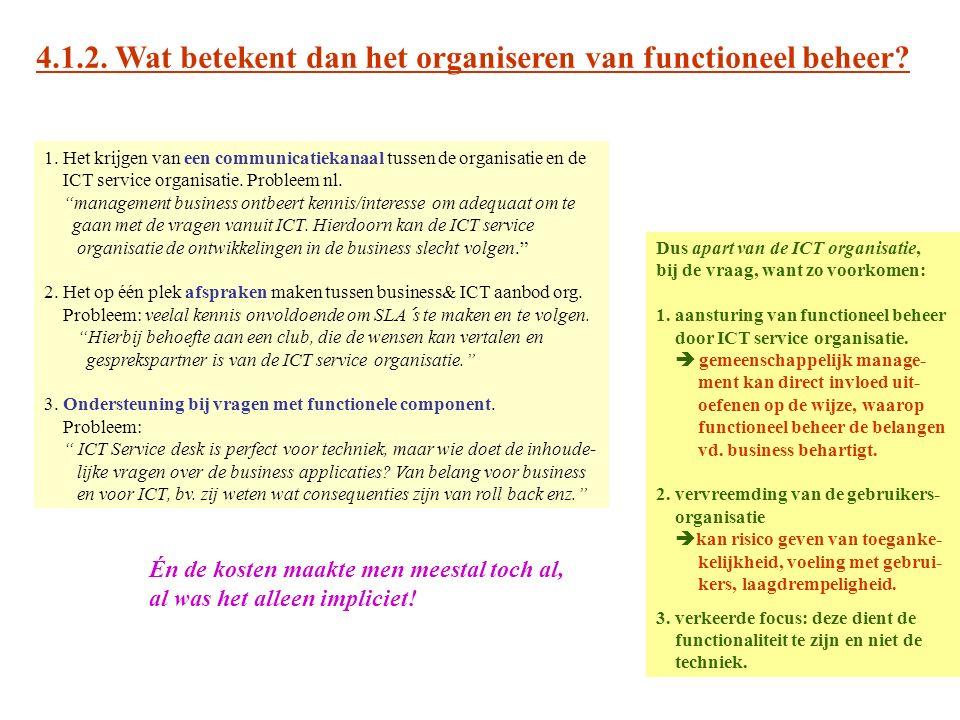 4.1.2. Wat betekent dan het organiseren van functioneel beheer? 1. Het krijgen van een communicatiekanaal tussen de organisatie en de ICT service orga