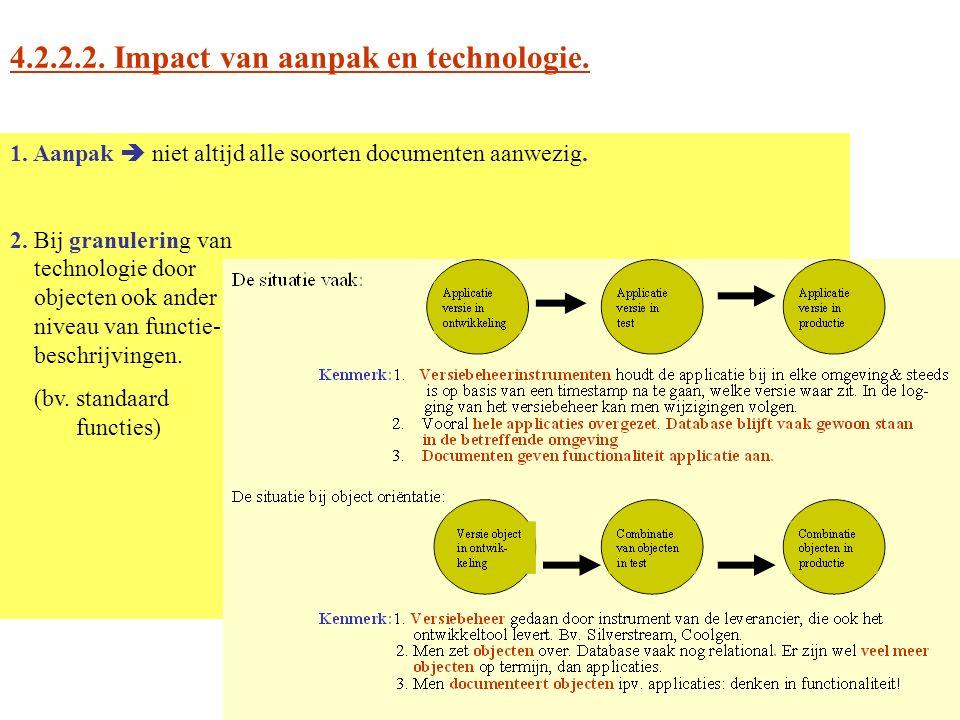 4.2.2.2. Impact van aanpak en technologie. 1. Aanpak  niet altijd alle soorten documenten aanwezig. 2. Bij granulering van technologie door objecten