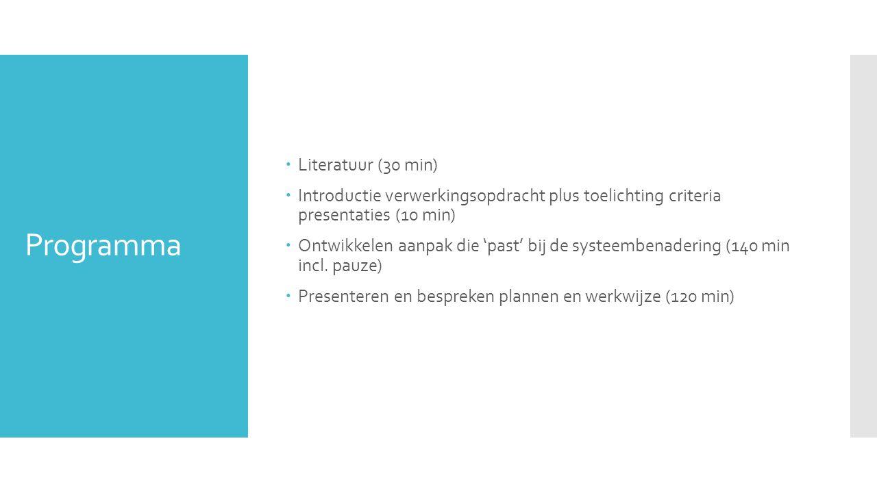 Programma  Literatuur (30 min)  Introductie verwerkingsopdracht plus toelichting criteria presentaties (10 min)  Ontwikkelen aanpak die 'past' bij