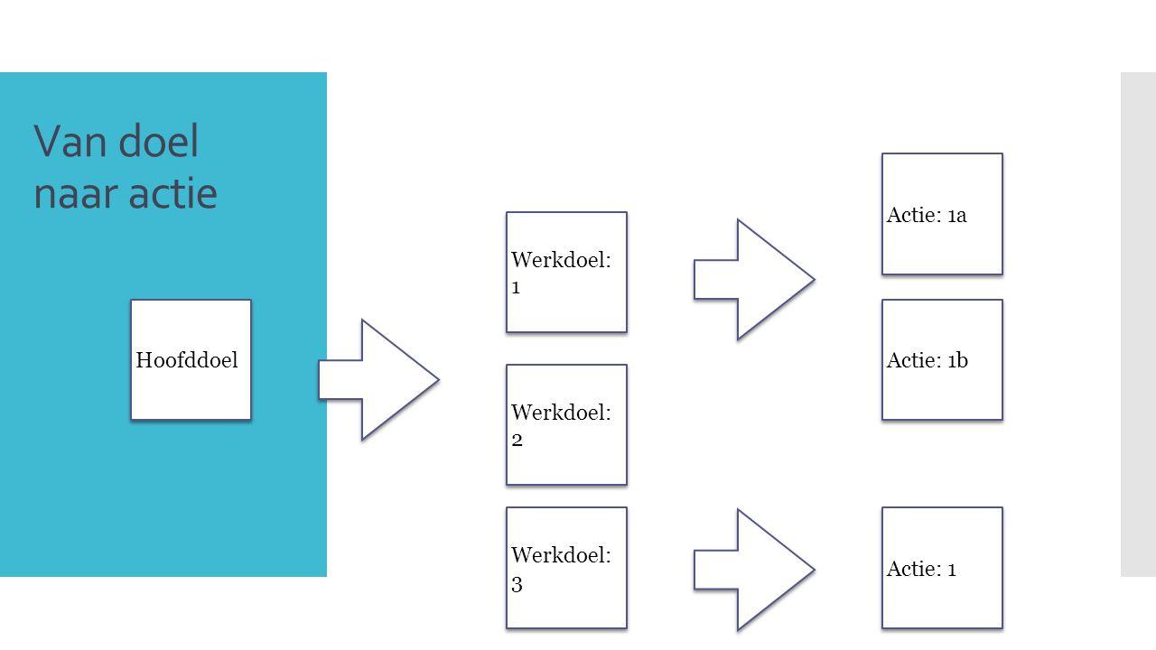 Van doel naar actie 8 Hoofddoel Werkdoel: 1 Werkdoel: 2 Werkdoel: 3 Actie: 1a Actie: 1b Actie: 1