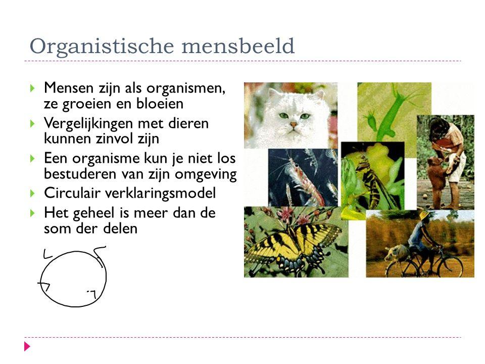  Mensen zijn als organismen, ze groeien en bloeien  Vergelijkingen met dieren kunnen zinvol zijn  Een organisme kun je niet los bestuderen van zijn
